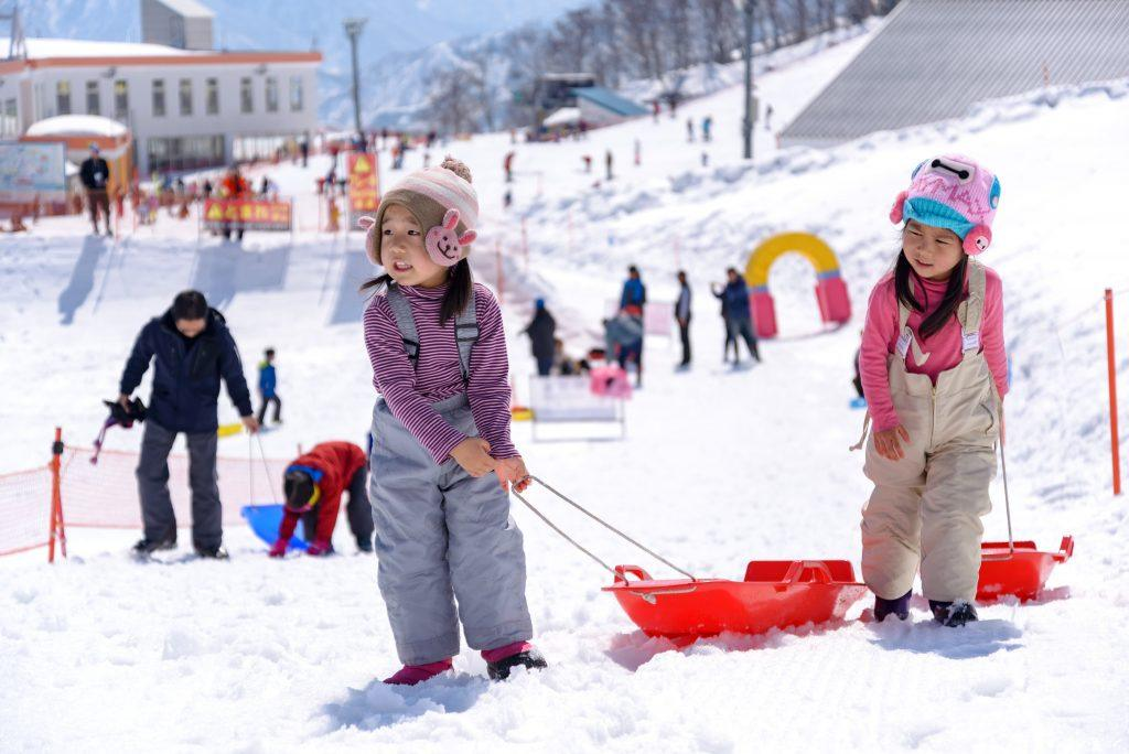 Children draggin the sledge at the Ski Resort_YP_Studio Shutterstock.com-min