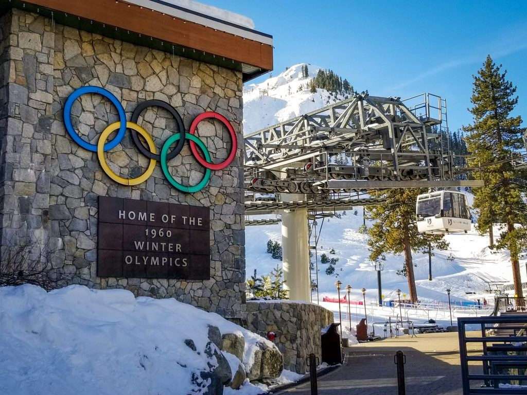 Squaw Valley with the Olympic rings.