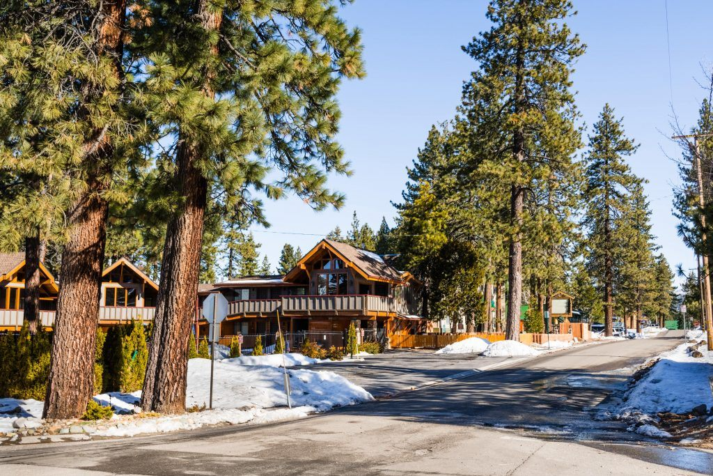 Paved street in south Lake Tahoe on a sunny winter day