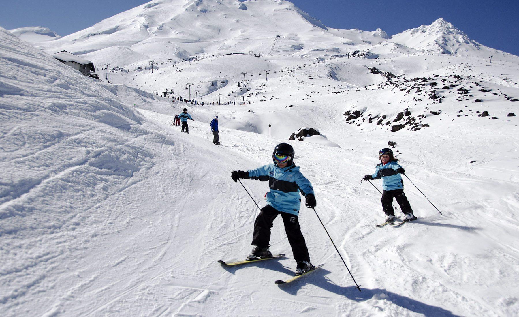 MOUNT RUAPEHU, NEW ZEALAND - JULY 12 2015 Turoa ski field on Mount Ruapehu in New Zealand's North Island. Turoa is the most popular ski filed in the North Island.