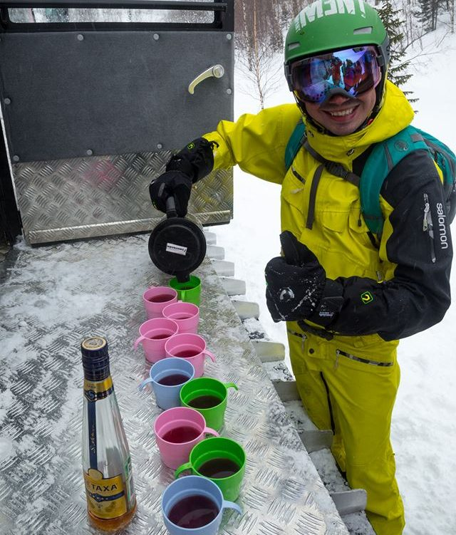 Skier fueling up somewhere in Siberia before off-piste descend