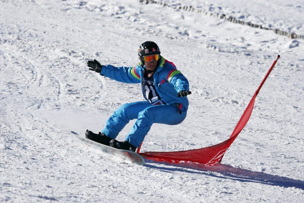 Snowboarder at competition in Tiffendell, South Africa